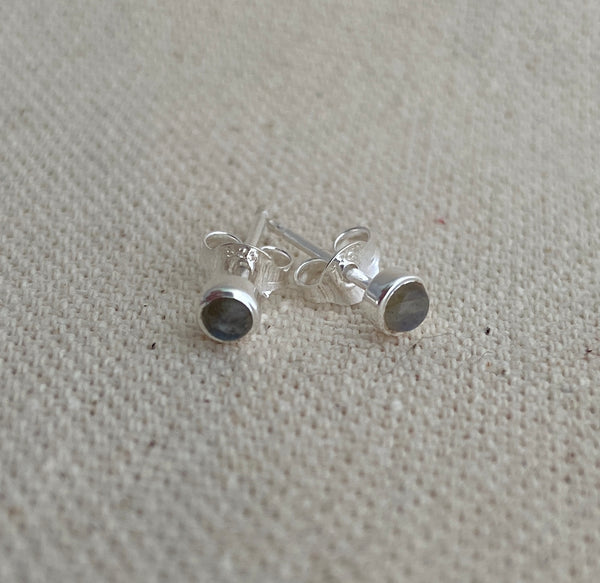 Silver and Labradorite Post Earrings