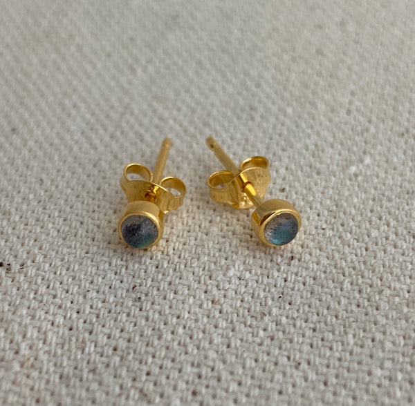 Gold and Labradorite Post Earrings