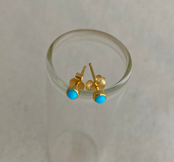 Turquoise and Gold Post Earrings