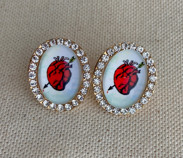 El Corazon Loteria Post Earrings