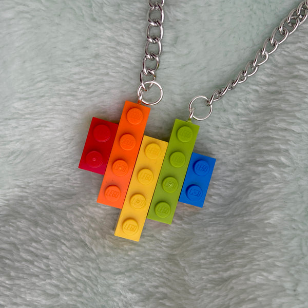 Rainbow Heart Lego Necklace