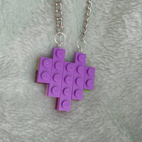 purple heart lego necklace