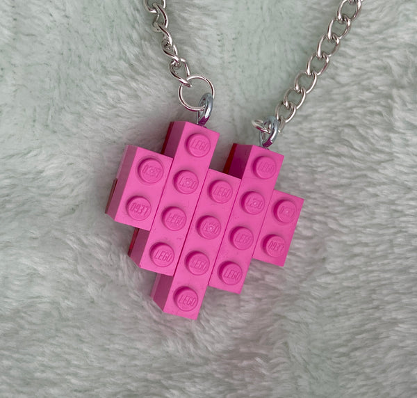 Pink Lego Heart Necklace