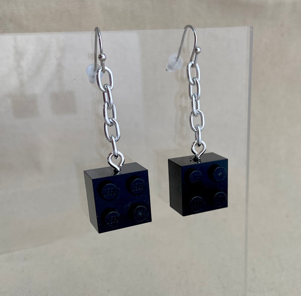 black legos on chains dangle earrings