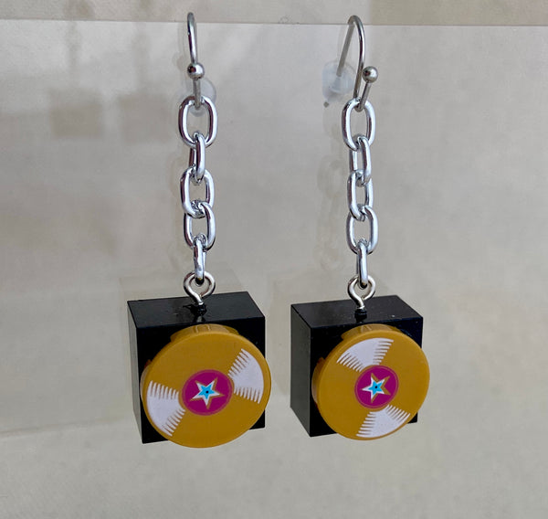 Golden Record Lego Drop Earrings