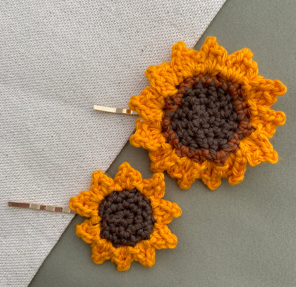 handmade crocheted sunflower hair pins by Ceramwitch