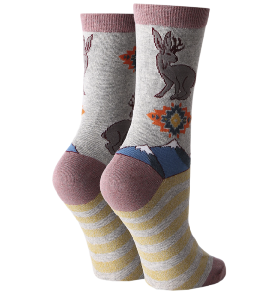women's jackalope cryptid socks