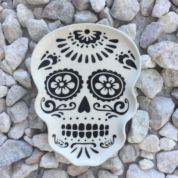 Ceramic sugar skull trinket tray