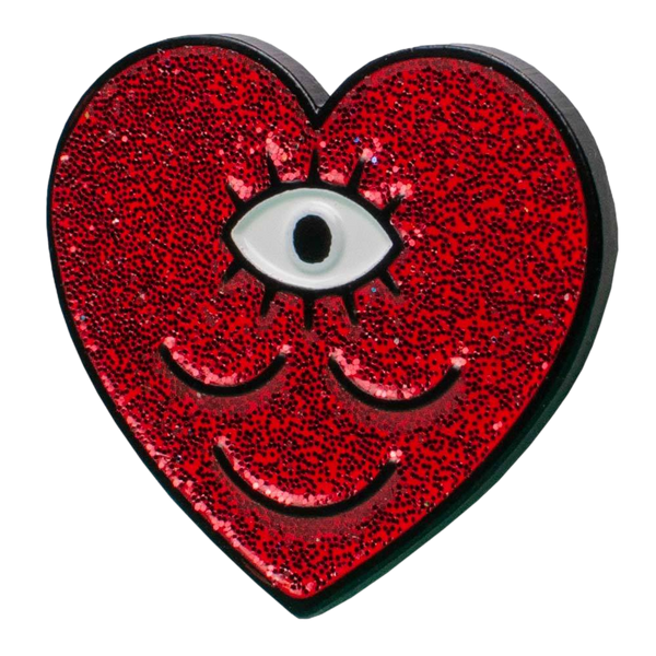 Sparkly WokeFace Heart Pin
