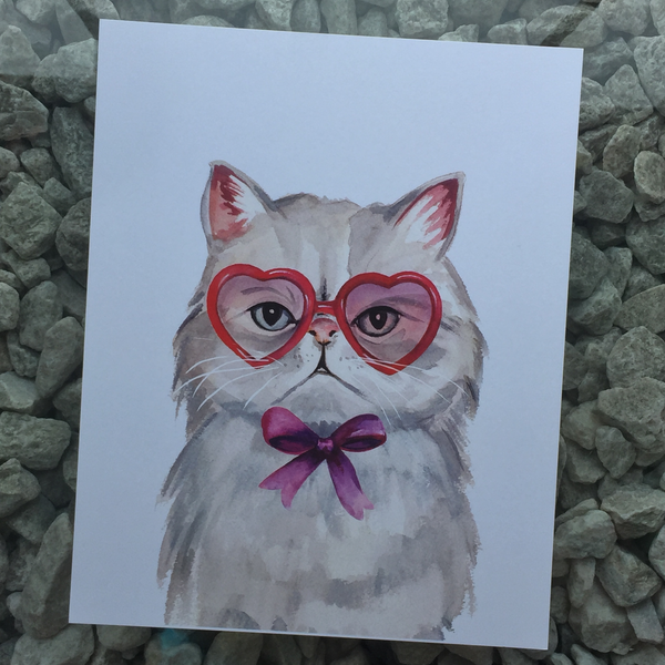 cat with heart shaped glasses art print