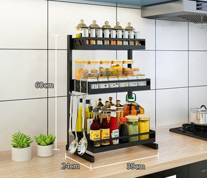 Stainless steel multi-layer kitchen rack