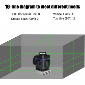 3D Green Beam Laser Level- 12/16