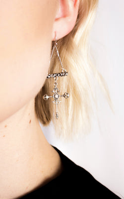 Yours Truly Cross Earrings in Silver