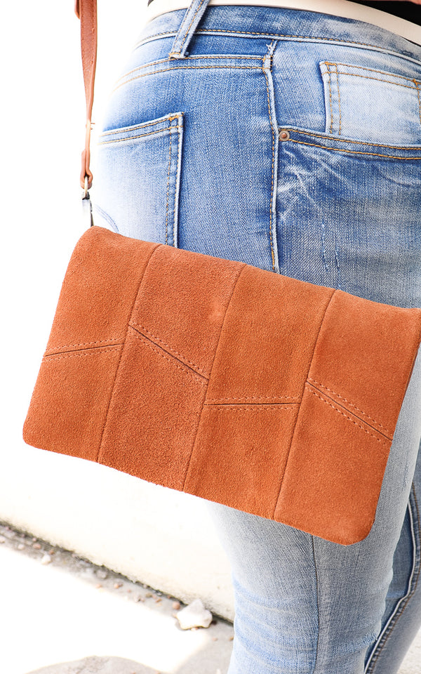 Sun Drenched Suede Crossbody in Tan