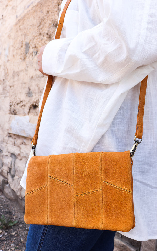 Sun Drenched Suede Crossbody in Mustard