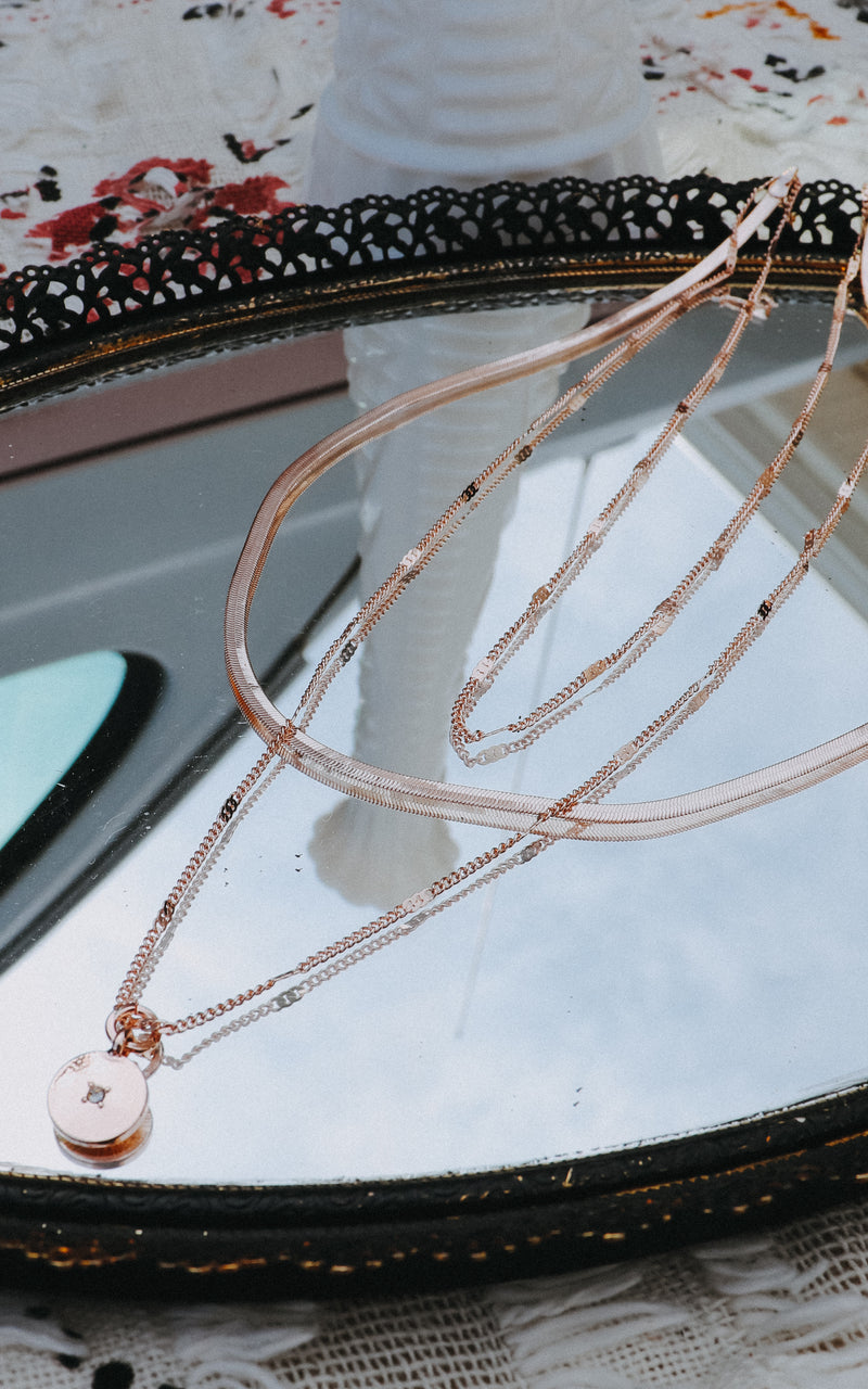 Coastal Moment Layered Necklace in Rose Gold