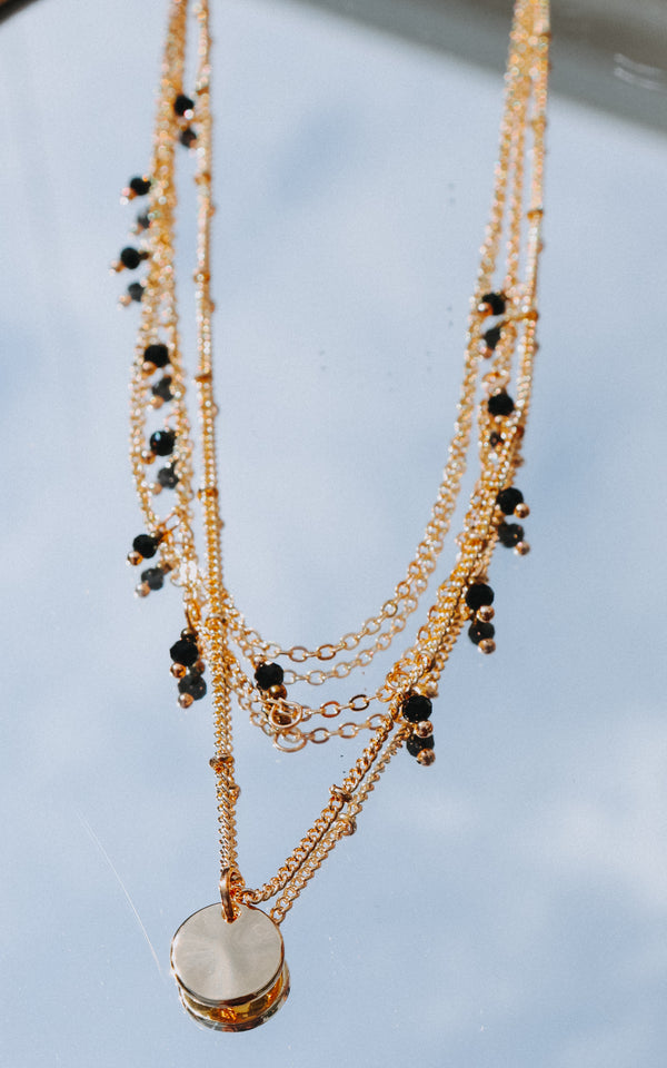 Sahara Beaded Necklace in Black