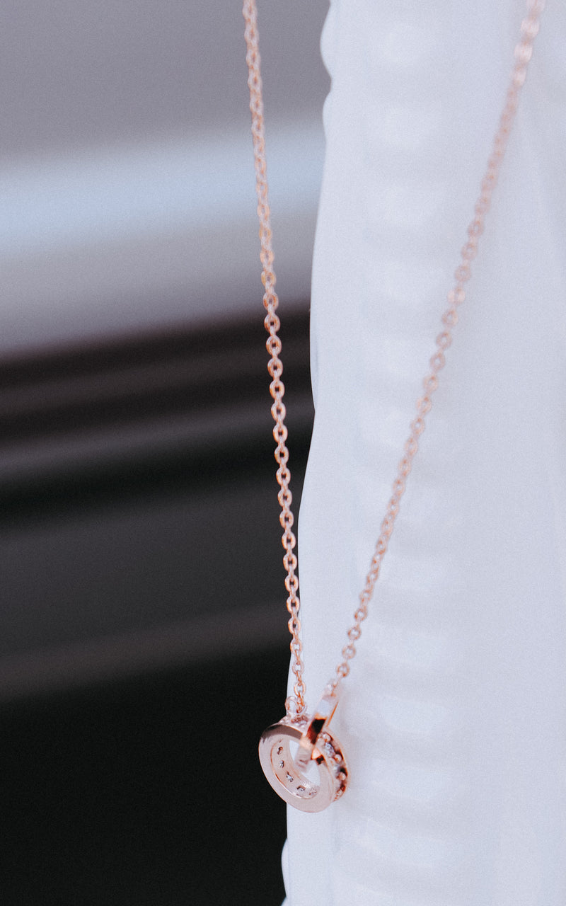 Gold Dipped Ring Necklace in Rose Gold