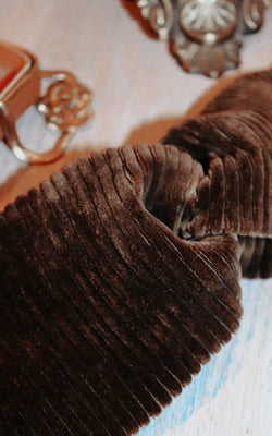 La La Velvet Headband in Brown