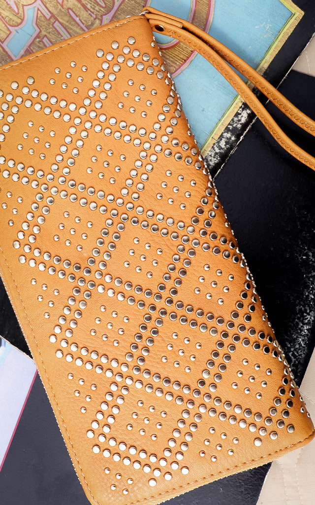 Bella Studded Wallet in Mustard