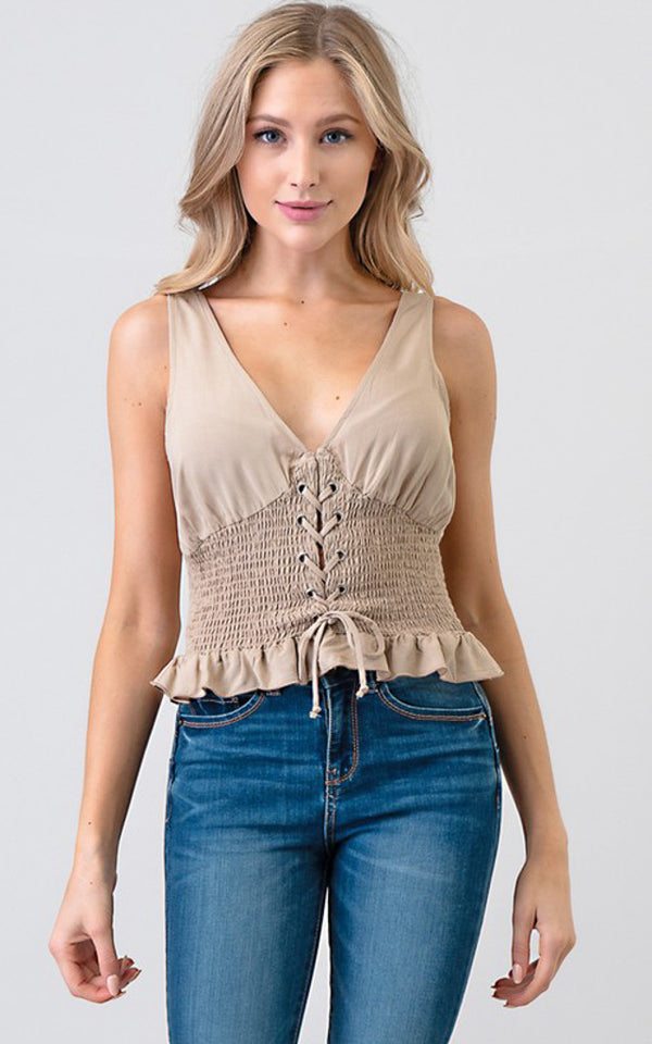 Santa Barbara Lace Up Tank