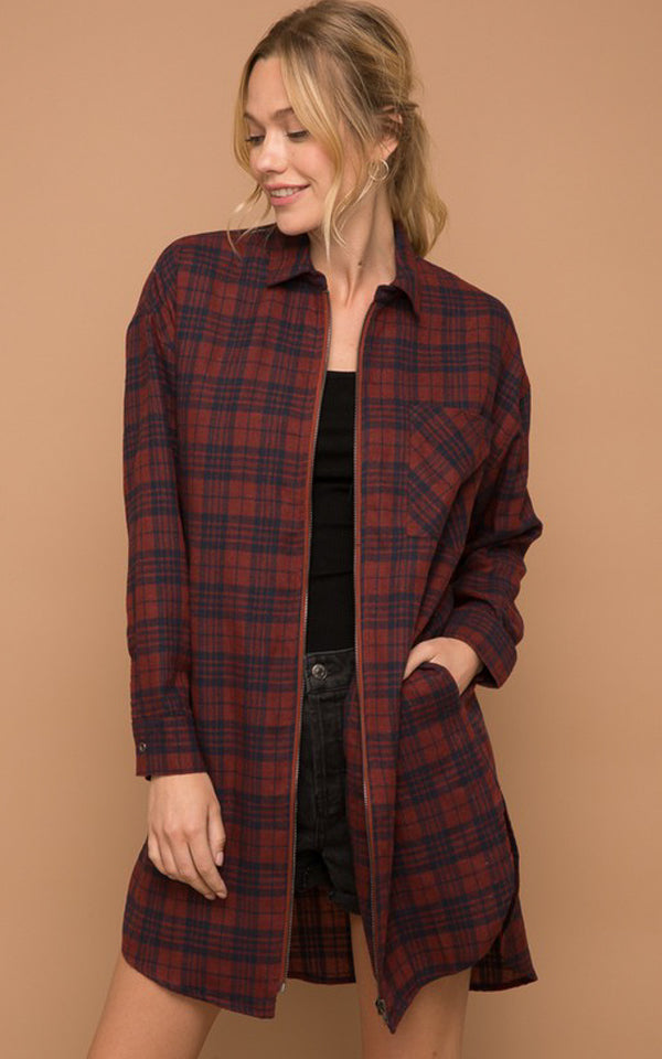 Say It Twice Plaid Zip Up