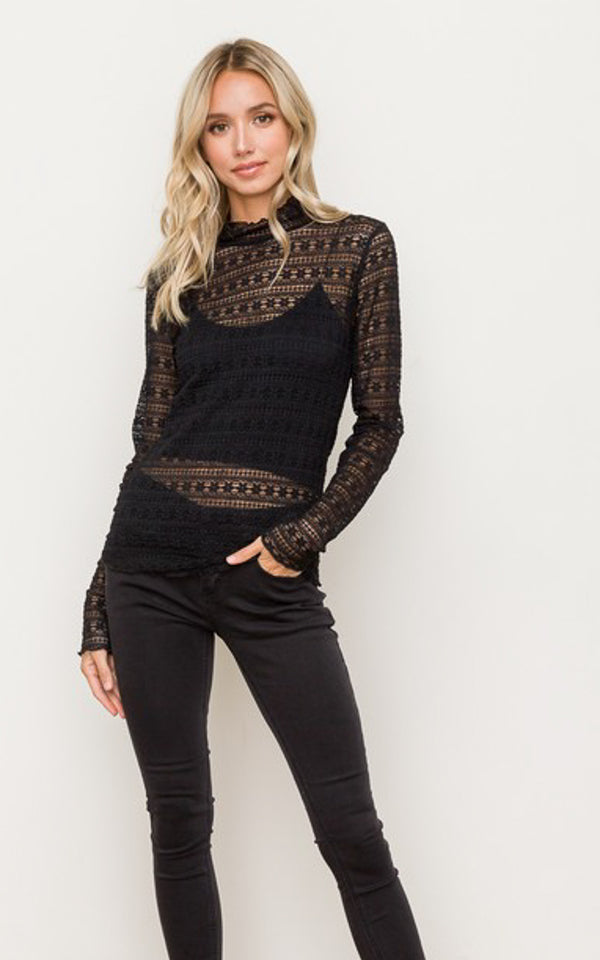 Marietta Lace Mock Neck Top