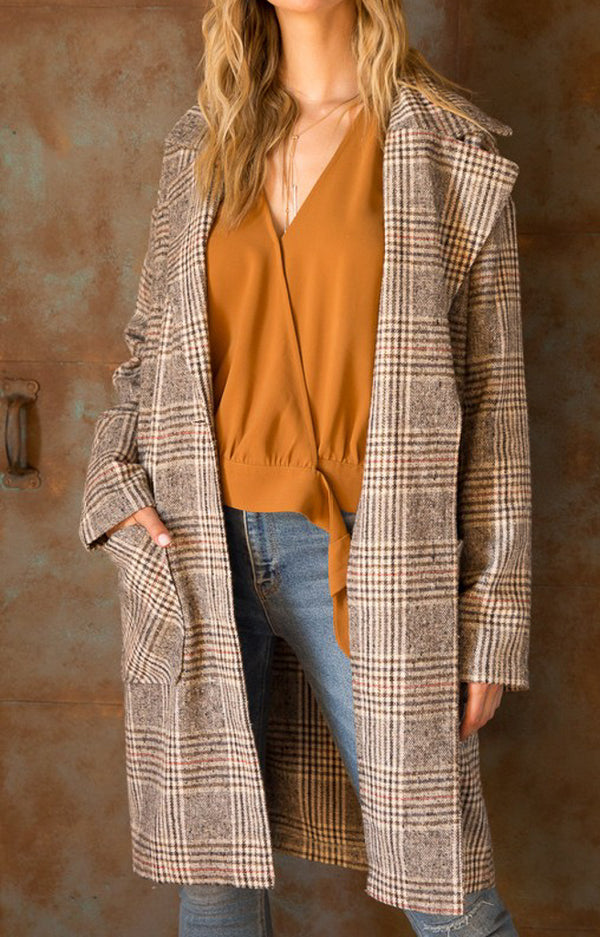 Cara Plaid Button Duster