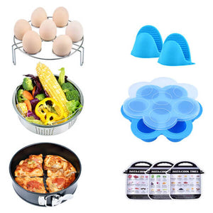 6pcs/Set Air Fryer Baking Basket Pizza Plate Grill Pot Mat Stand