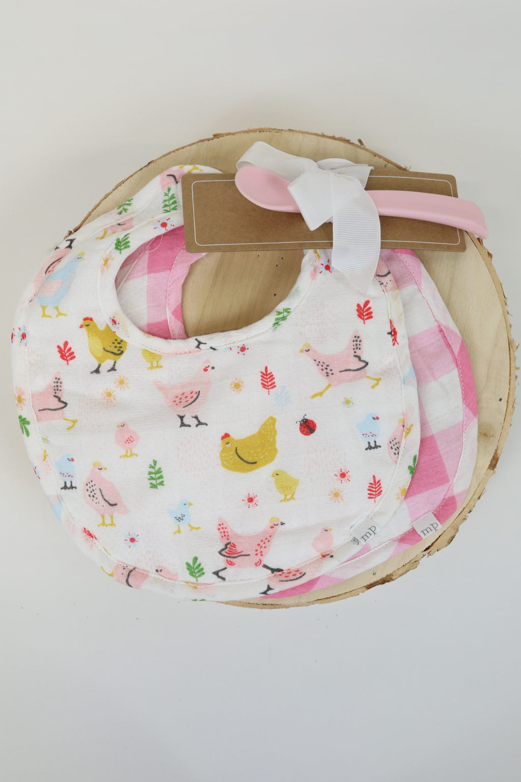 Chicken Print Bibs with Spoon - Set of Two