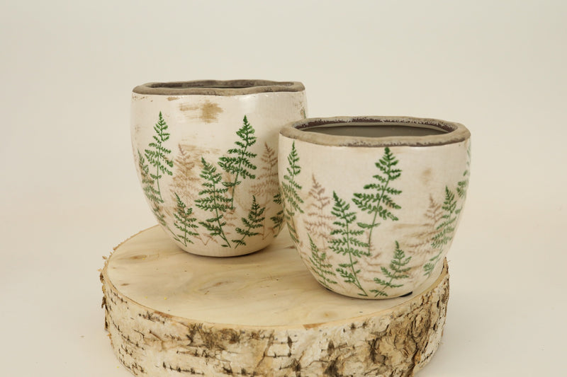 Fern Stamped Pot - Small