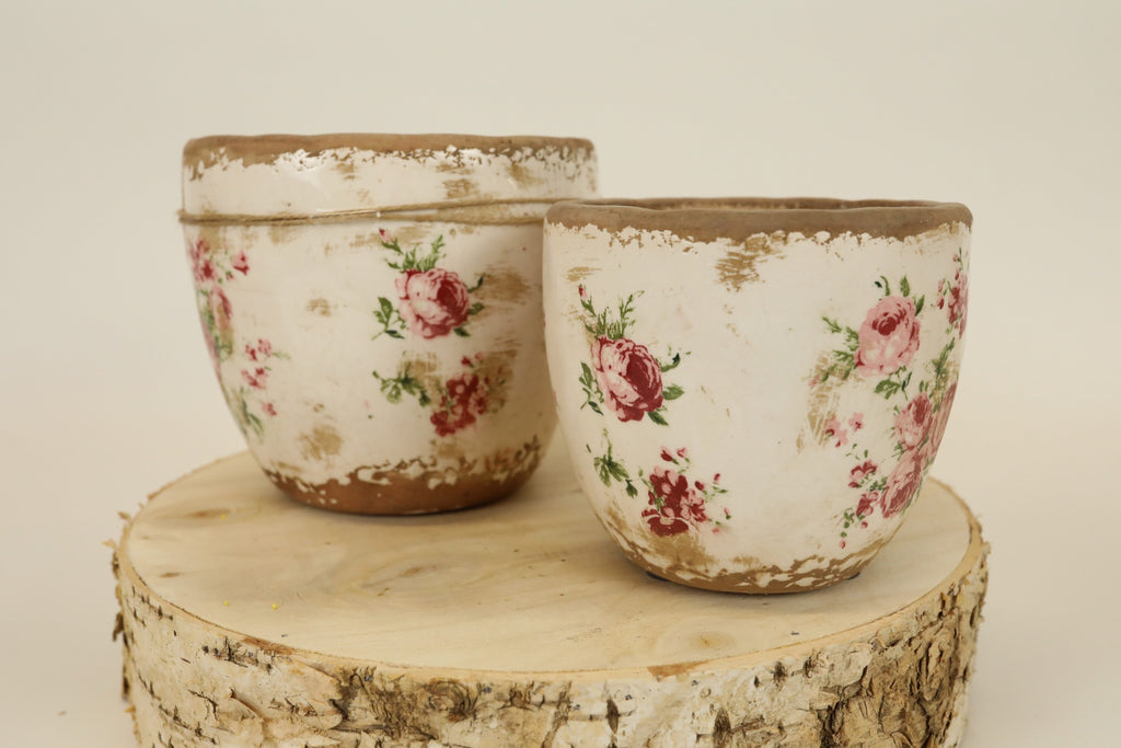 Rose Stamped Pot - Large
