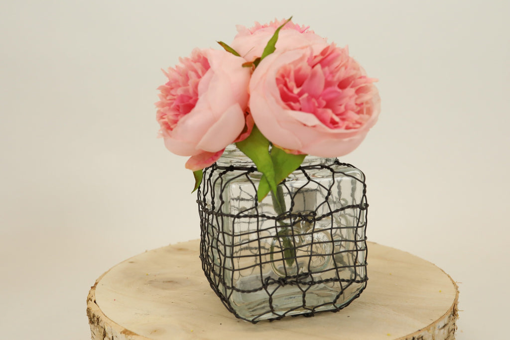 Chicken Wire Wrapped Glass Jar