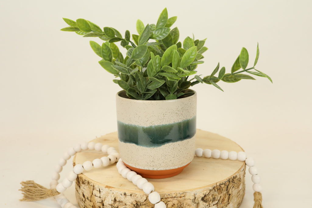 Emerald Stripe Terra-cotta Pot - Medium
