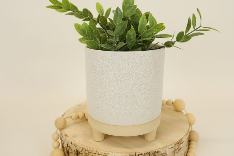 White Terra-cotta Tri-footed Pot - Large