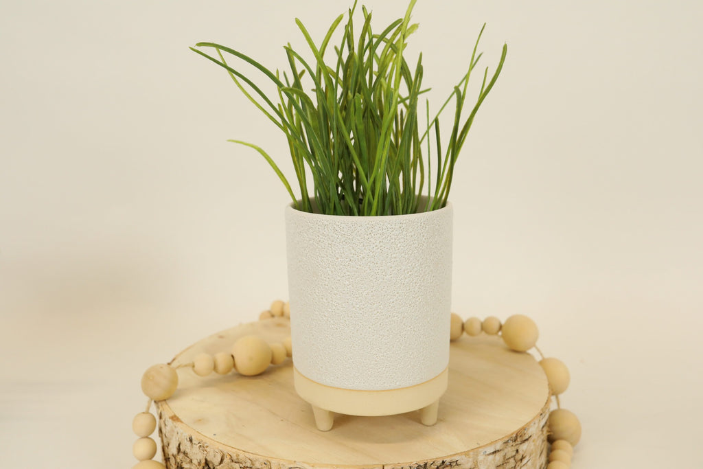 White Terra-cotta Tri-footed Pot - Medium