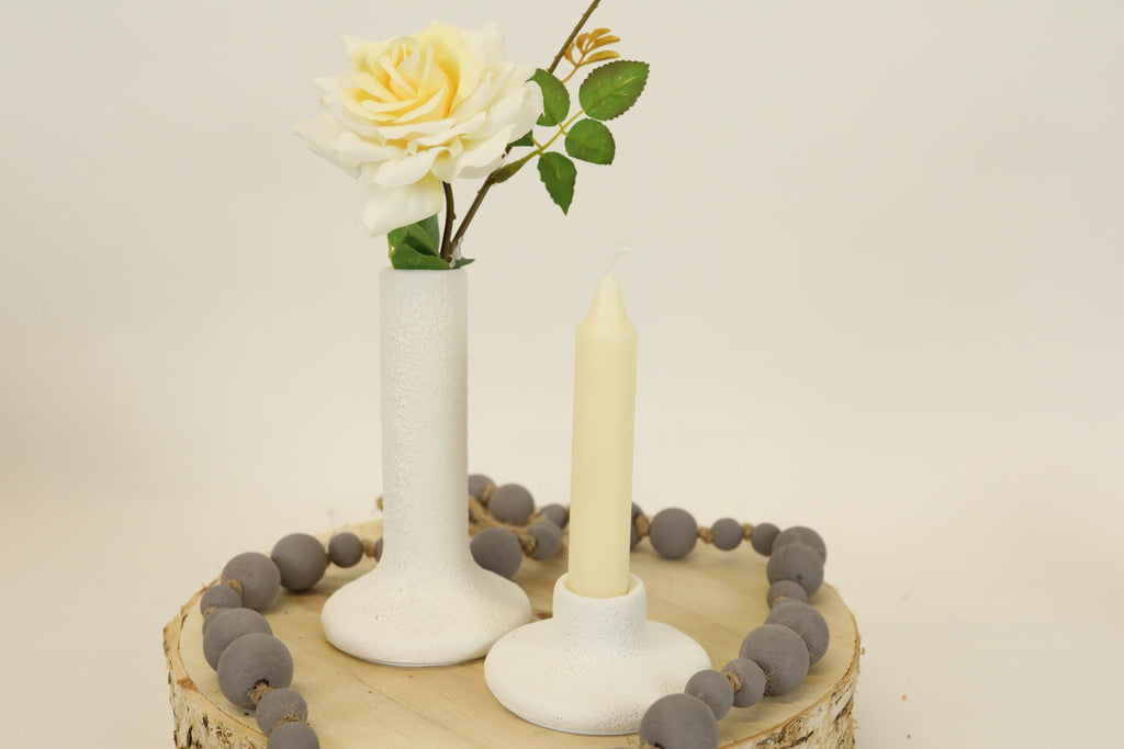 White Terra-cotta Candle Holder