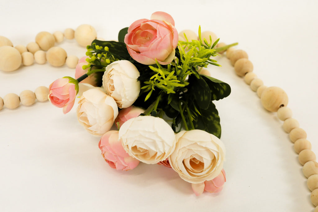 Ranunculus Bush - Cream/Pink 11""