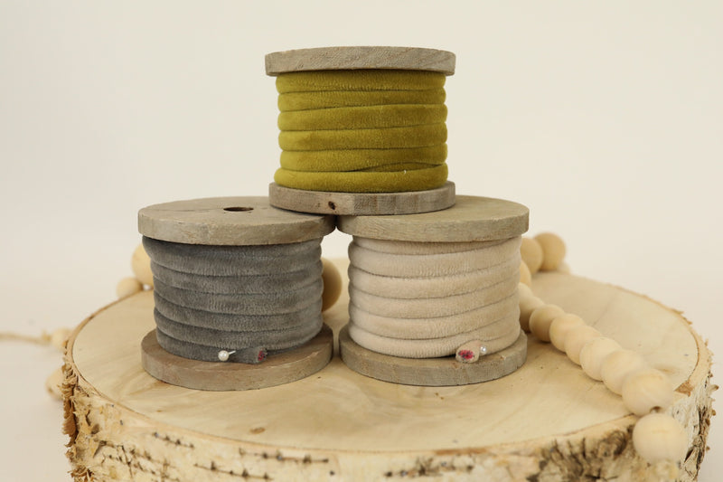 Velvet Ribbon on Spool - Taupe