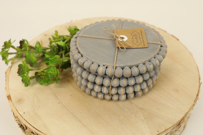 Coaster Set - Beaded Grey