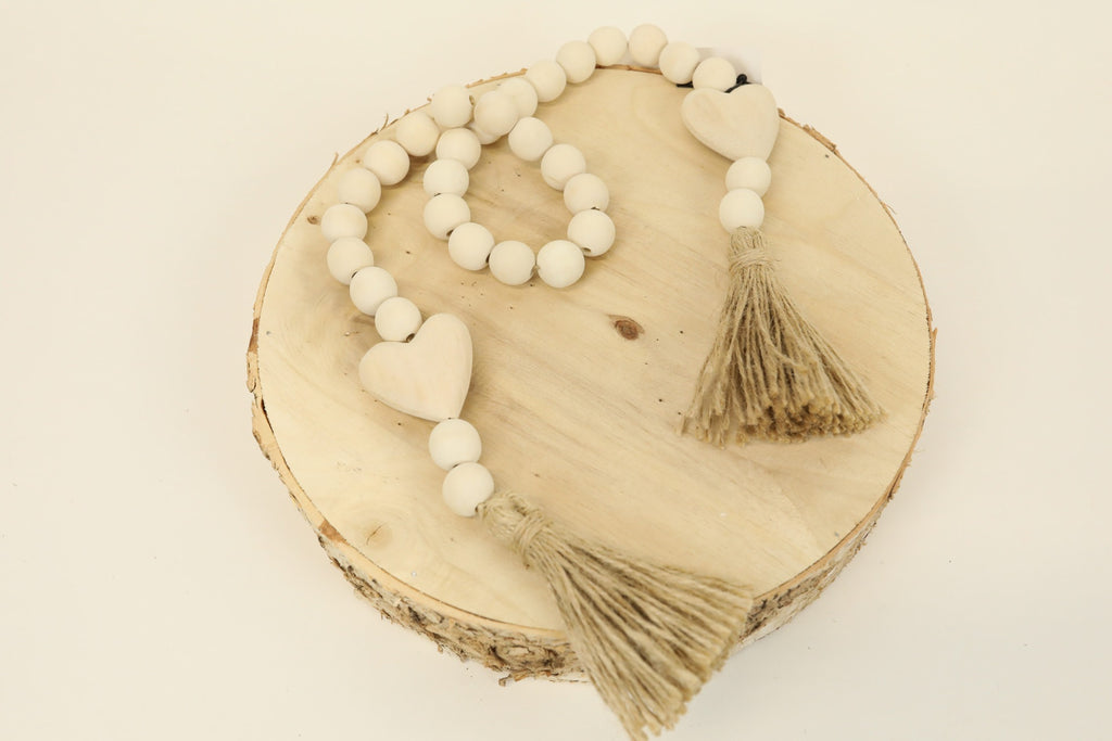 Heart Blessing Beads - Natural 34""