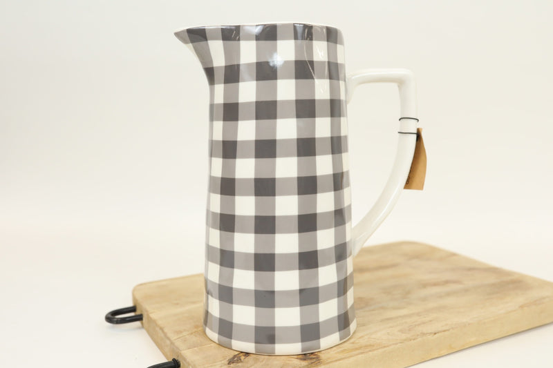 Grey Gingham Stoneware Pitcher