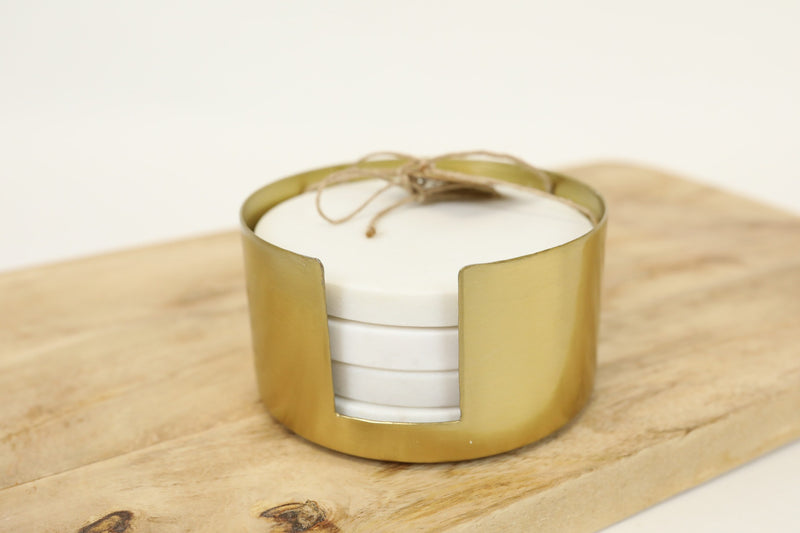 Marble Coasters with Brass Holder