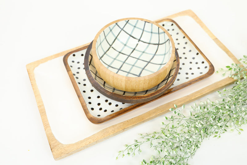 Plaid Wood Bowl - Southern Charm Collection