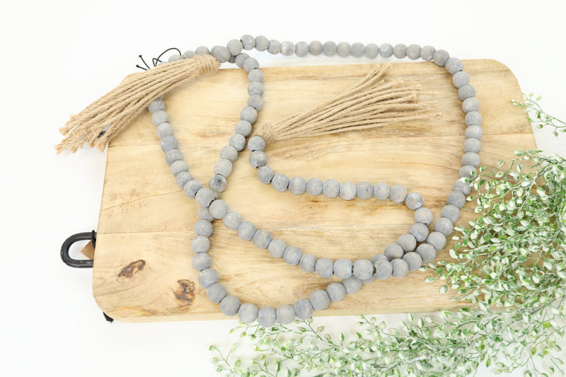 Wooden Tassel Beads - Charcoal