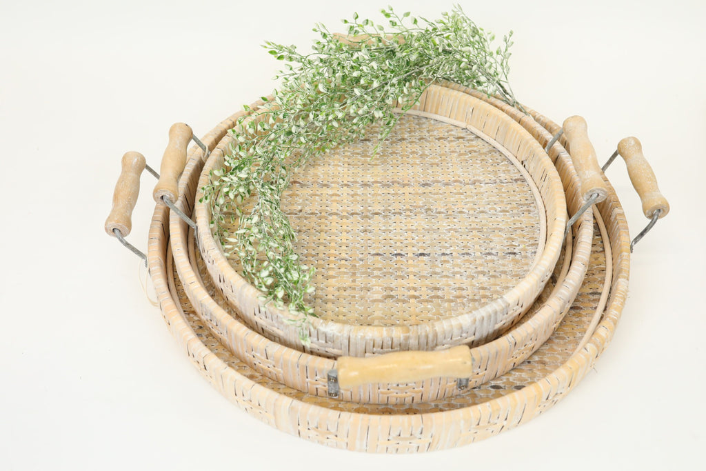 Whitewashed Wicker Tray - Medium