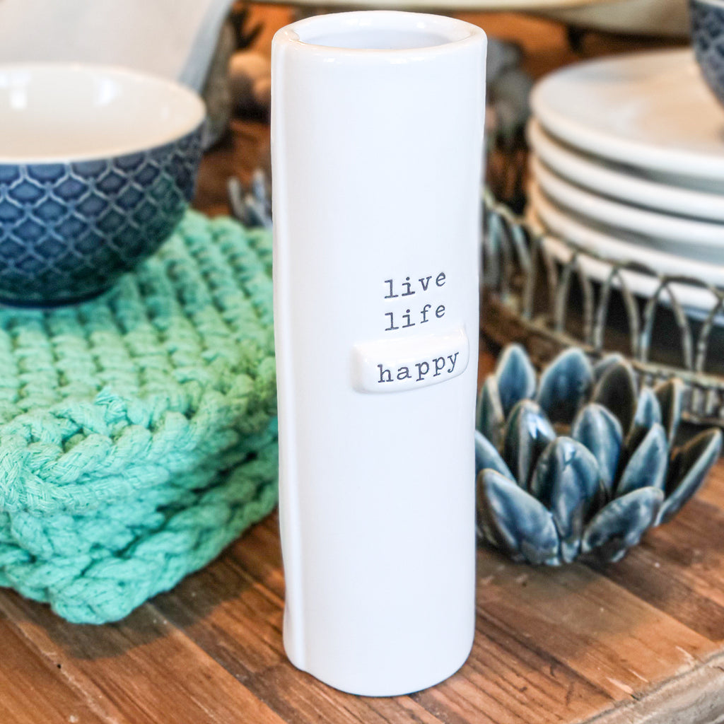 Quote Vase - Live Life Happy
