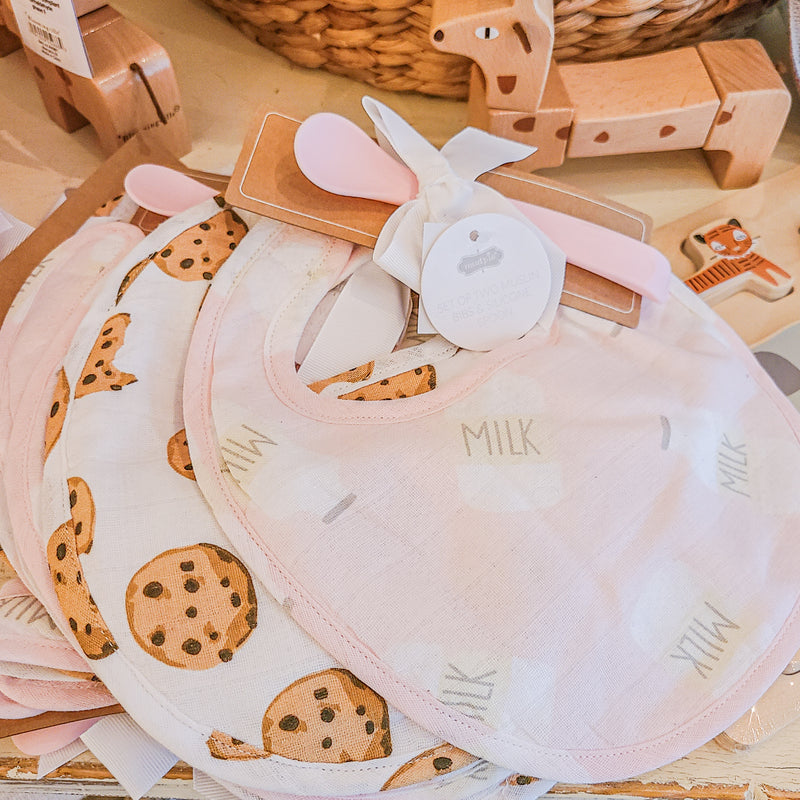 Cloth Bib and Spoon Set - Milk and Cookies Print