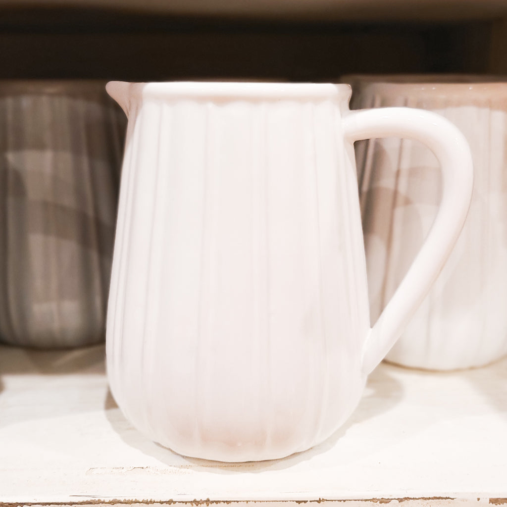 Ribbed Ceramic Pitcher in White
