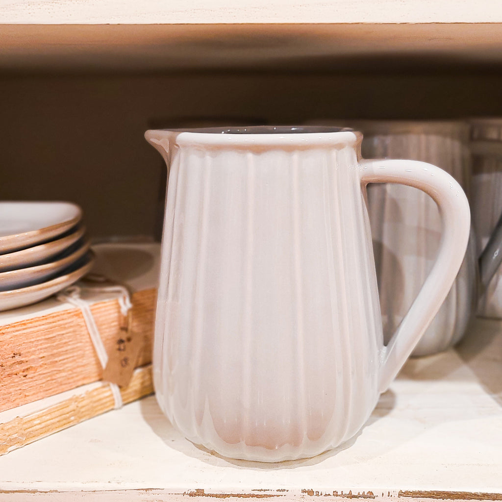 Ribbed Ceramic Pitcher in Grey